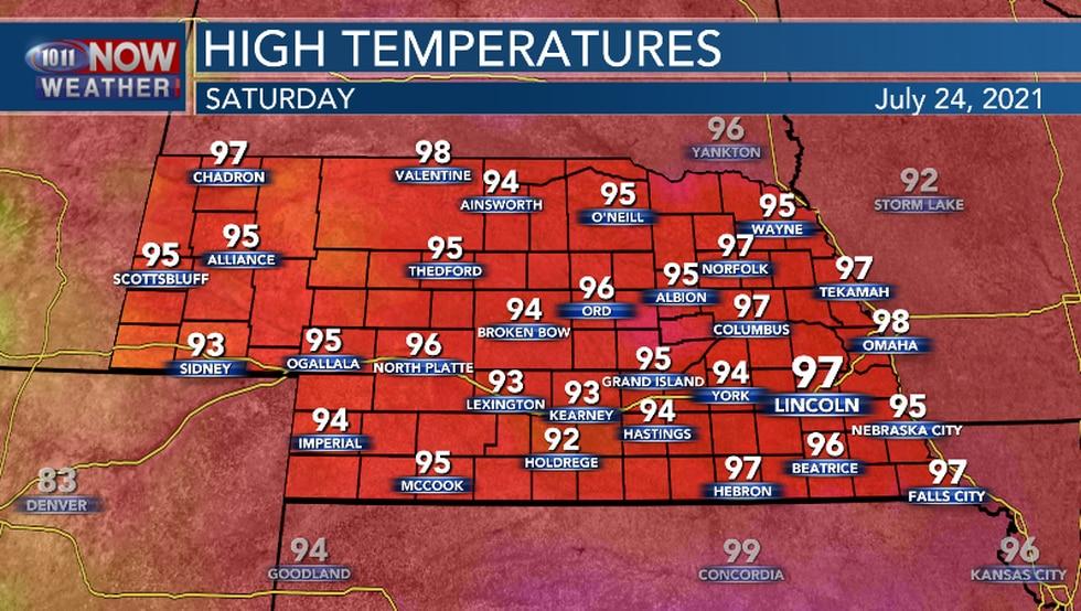 High temperatures remain above average Saturday.
