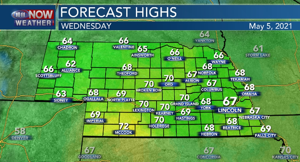 Highs temperatures will be closer the seasonal average Wednesday afternoon