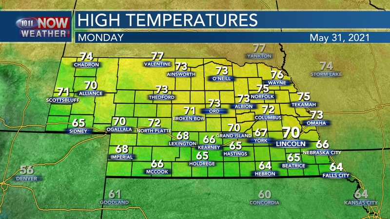 Temperatures will range from the mid 60s to mid 70s on Monday with the warmest readings across...
