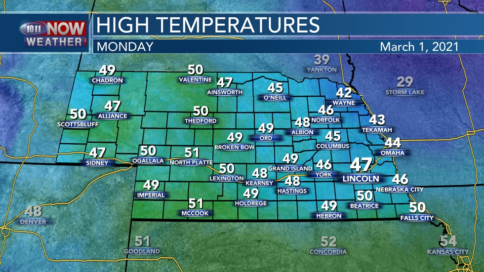 Sunshine with seasonally mild weather is expected to start March with highs in the low 40s to...