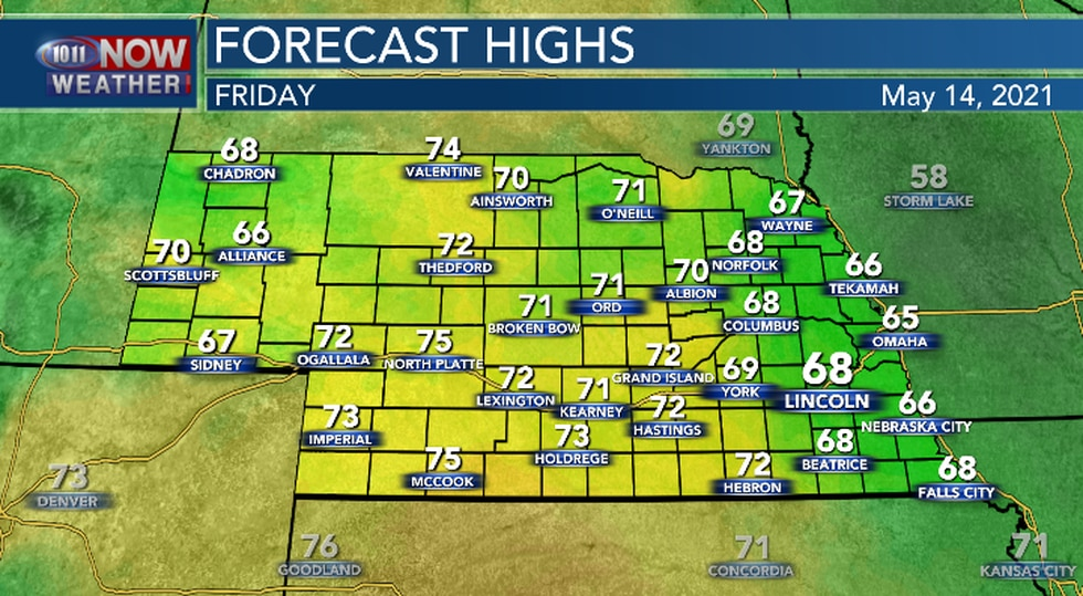 High temperatures on Friday will be near the daily average.