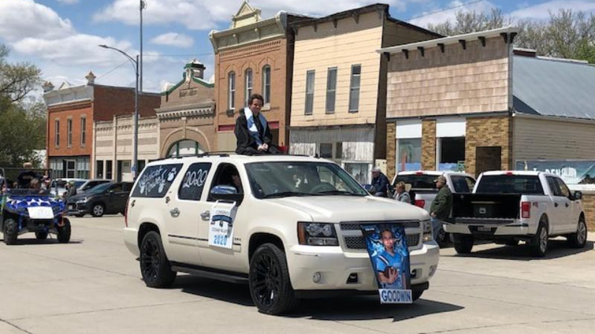 A social distancing parade was held Sunday afternoon in Cedar Bluffs, Neb. as a community...