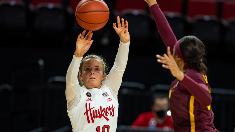 Nebraska guard Whitney Brown attempts a shot against Minnesota.