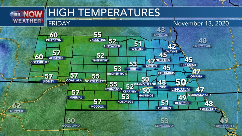 Temperatures should rebound a bit on Friday with highs in the lower 40s to lower 50s across the...
