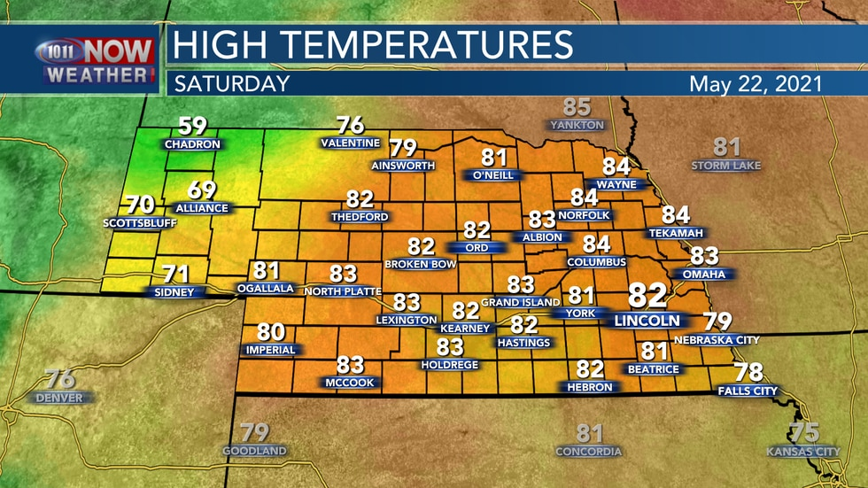 Look for highs in the mid 70s to low 80s on Saturday.