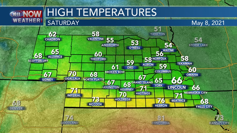 Temperatures will range from the low 50s to low 70s for most of the state on Saturday.