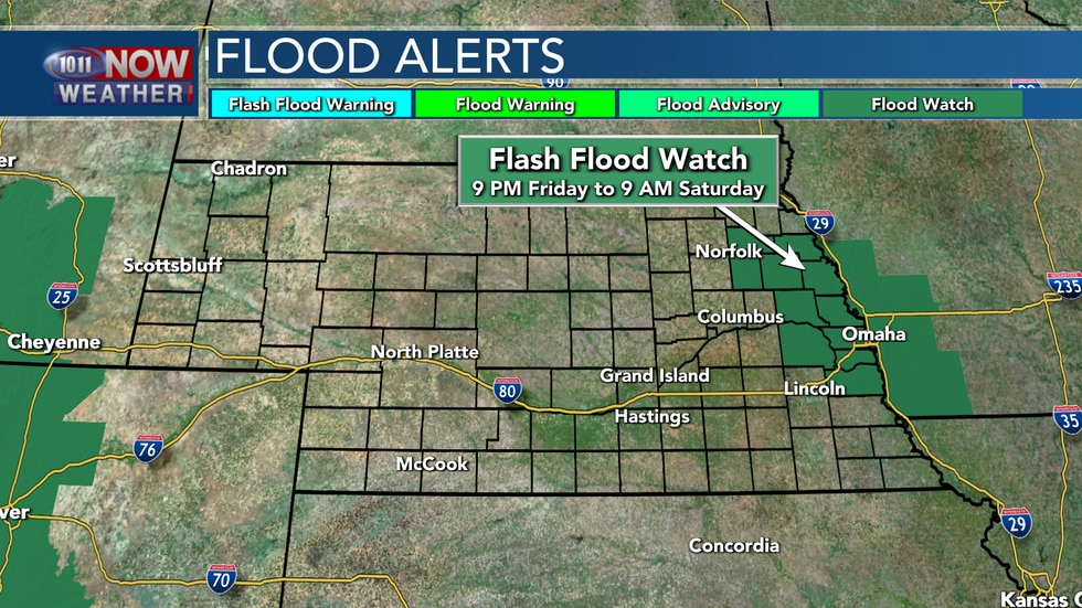 A Flash Flood Watch is in place across east central Nebraska from 9 PM Friday to 9 AM Saturday.