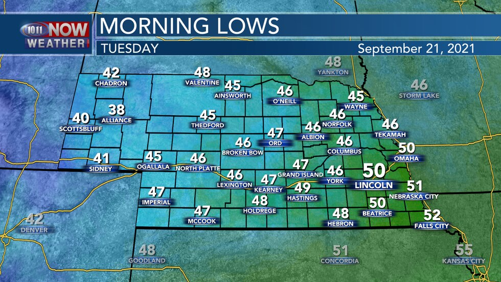 Look for temperatures tonight to fall into the upper 30s to the lower 50s across the state.