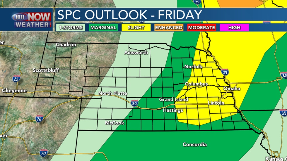 A cold front could bring in some strong to severe storms across eastern Nebraska on Friday.