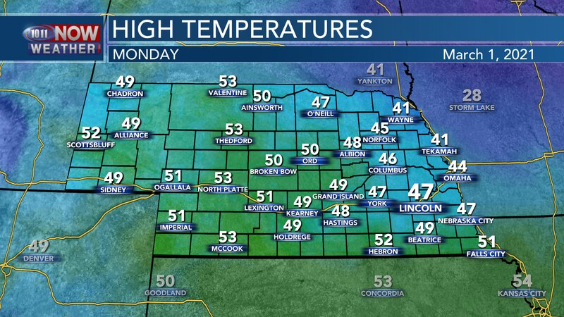 Temperatures should rebound for most of the state on Monday with highs in the low 40s to low...