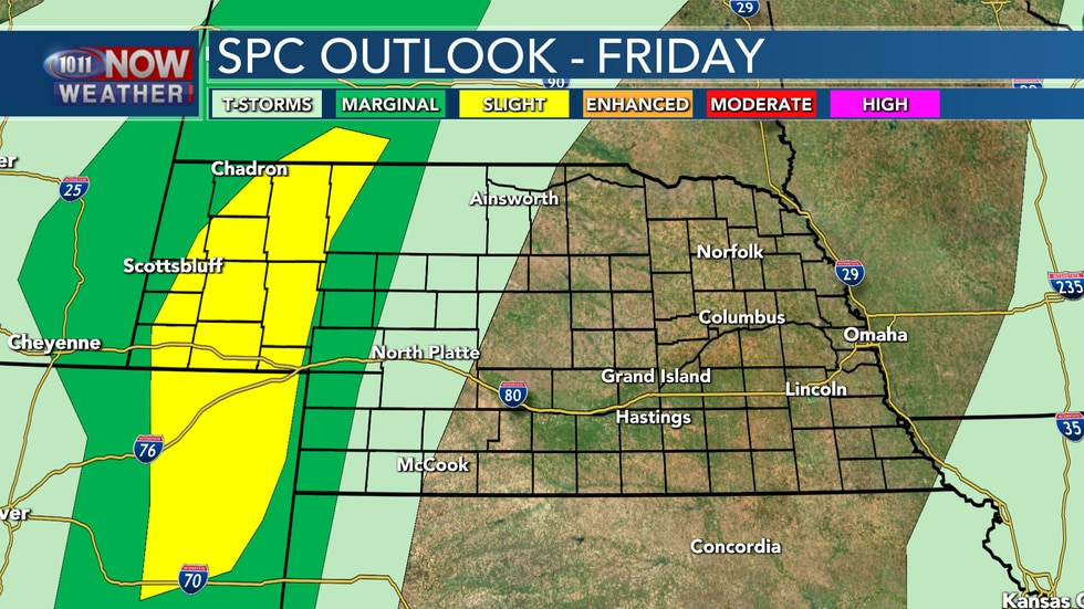 A weak disturbance passing through the area is expected to bring severe storms to western...