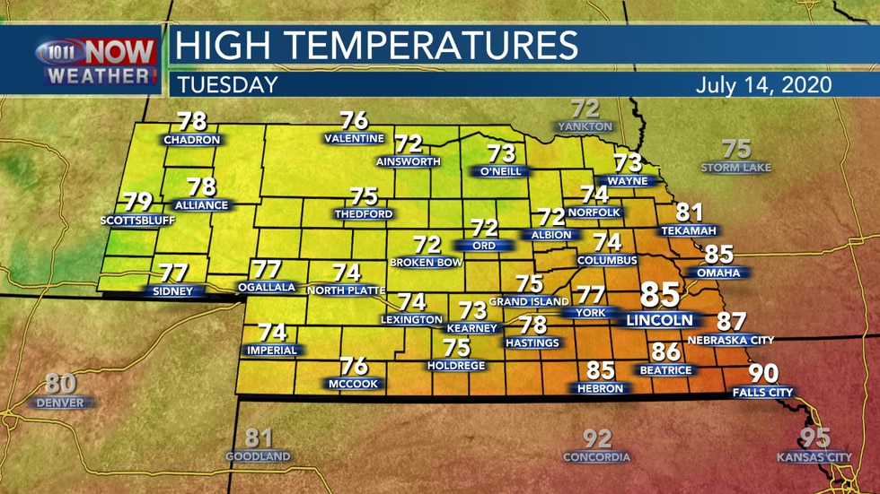 A cold front will bring cooler weather to much of the state on Tuesday.
