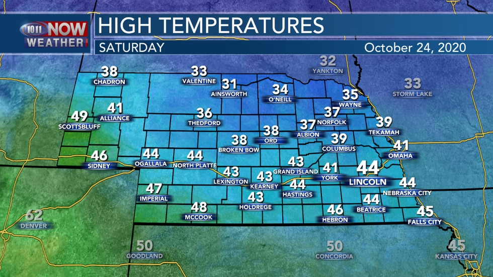 Temperatures will range from the mid 30s to upper 40s on Saturday.