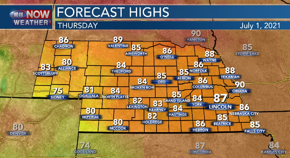 High temperatures Thursday afternoon will be at or just below the average high temperature for...