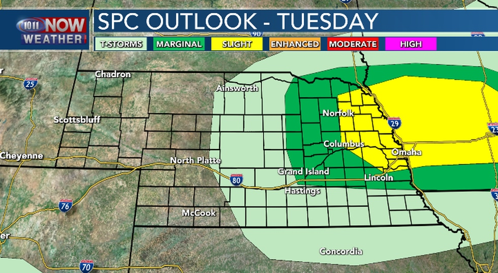 A few strong to severe thunderstorms are possible Tuesday afternoon and evening in eastern...