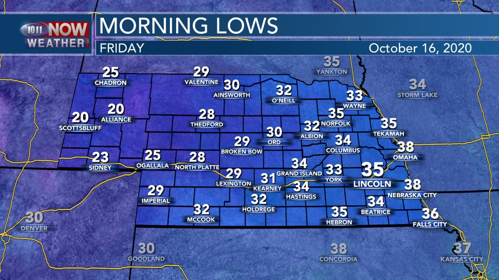 Temperatures are expected into the 20s and 30s into Friday morning across the state - one of the coolest mornings we've had so far this fall.