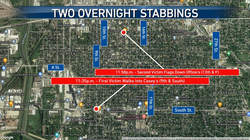 Lincoln Police say two overnight stabbings are connected that hospitalized two men.