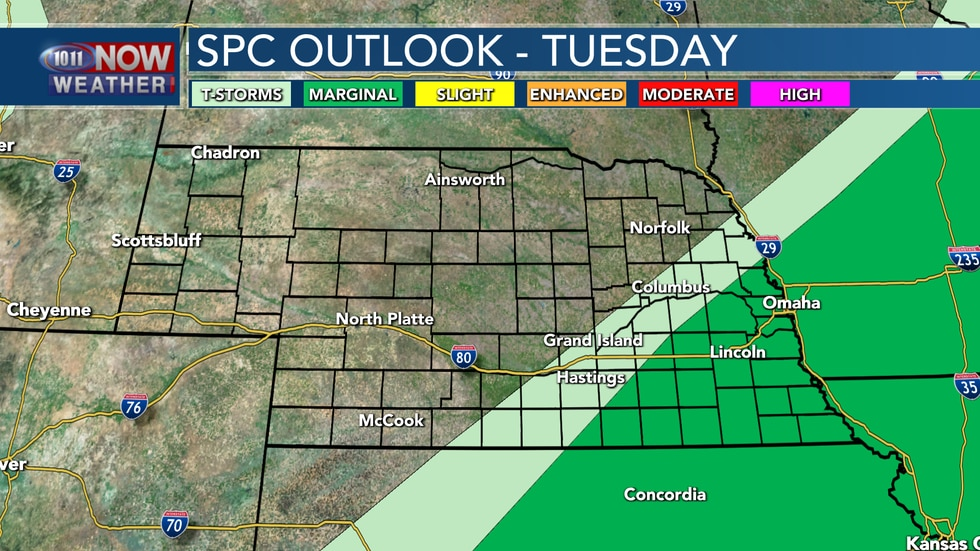 Isolated severe storms are possible on Tuesday in southeastern Nebraska as stationary boundary...