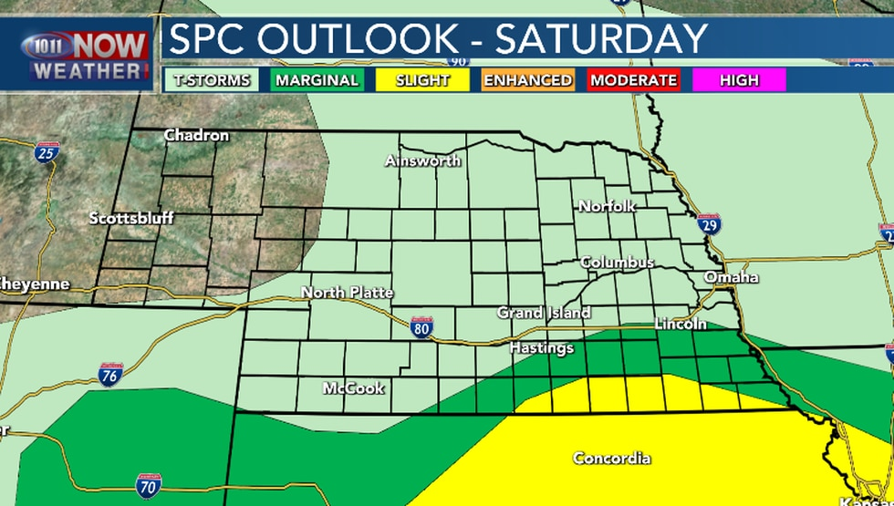 Severe weather will be possible in far southern Nebraska late Saturday afternoon and evening.
