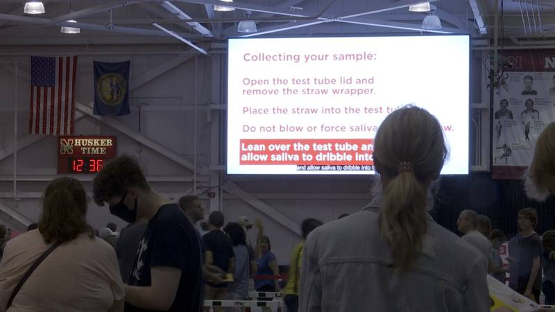 UNL students get tested at the Bob Devaney center after checking in for the semester.