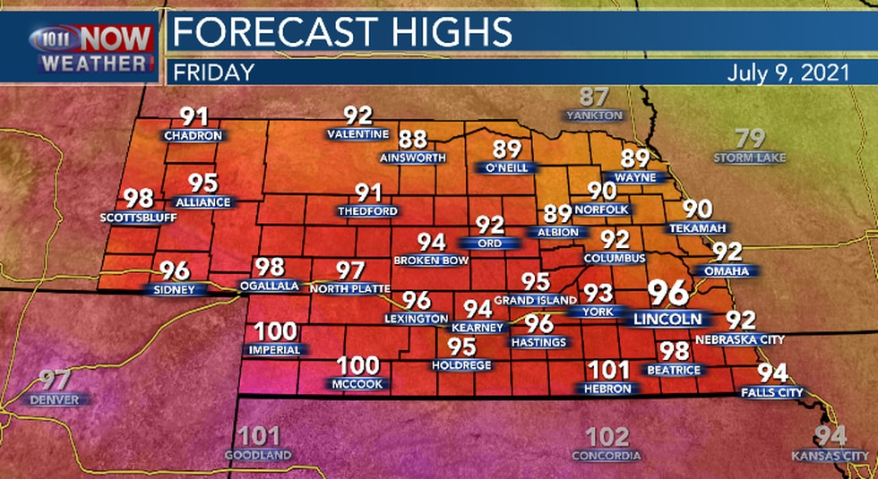 It will be hot and humid, especially in southern Nebraska Friday afternoon.