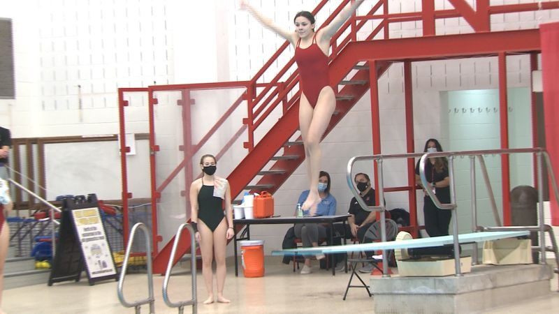 Lincoln High's Novalee Schmit competes at the 2021 NSAA State Diving Championships