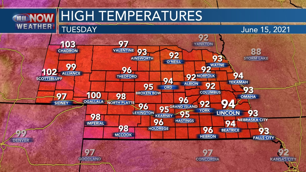 Temperatures should generally sit in the lower to middle 90s for eastern Nebraska on Tuesday...