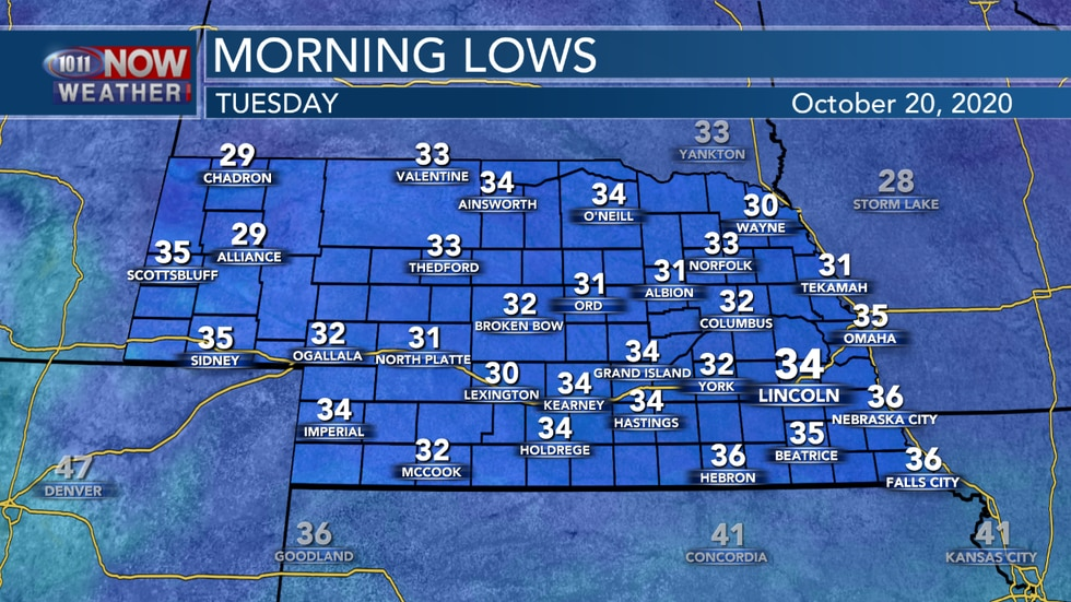 Low temperatures into Tuesday morning are expected to fall into the upper 20s to mid 30s across...