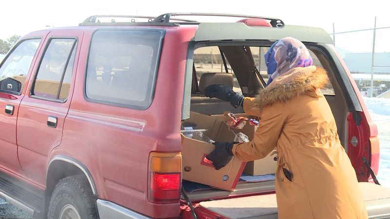 The cold didn't stop food distributions on Tuesday. The Center for People in Need just finished...