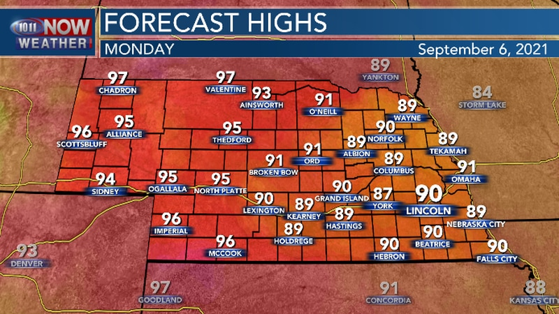 Hot and more humid across Nebraska on Labor Day.