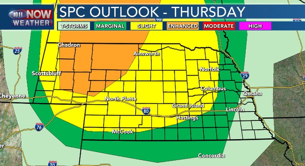 Severe weather is possible late Thursday afternoon and continue into Thursday night.