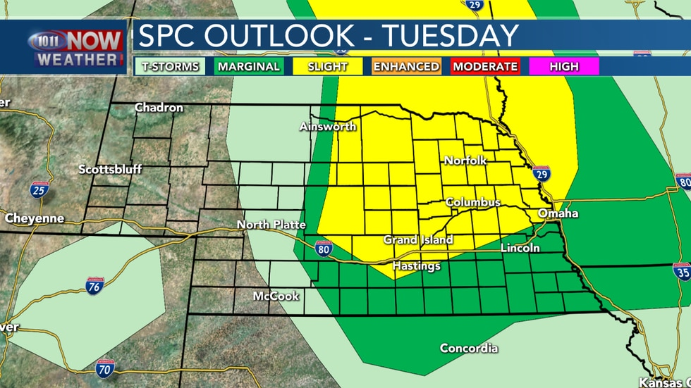 A marginal and slight risk is in place across central and eastern Nebraska from the Storm Prediction Center for Tuesday, June 30th, 2020.