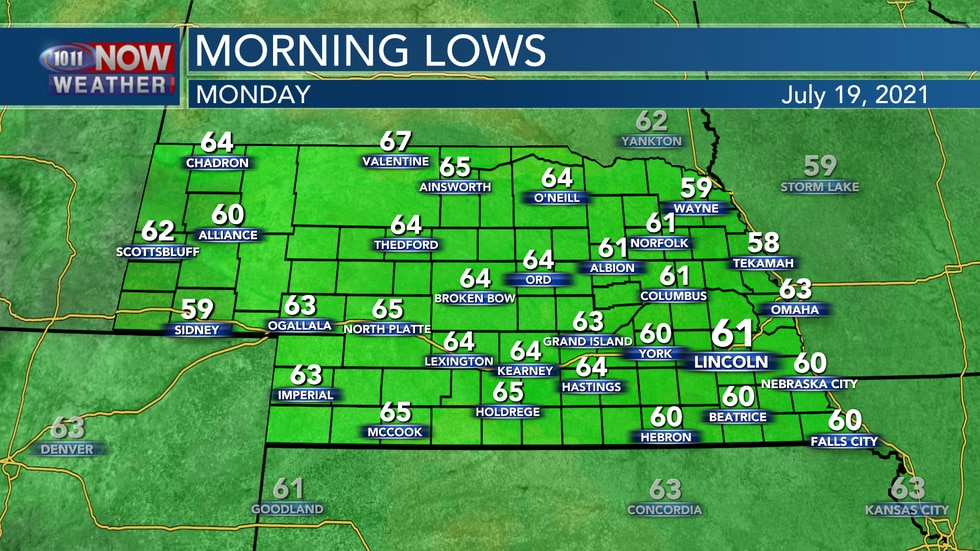 Temperatures will be a bit cooler tonight with lows in the upper 50s to the lower and middle...