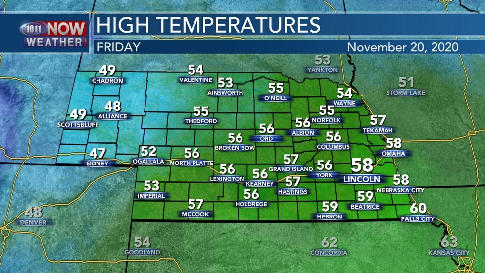 Cooler weather is expected behind a cold front into Friday with highs falling into the upper...