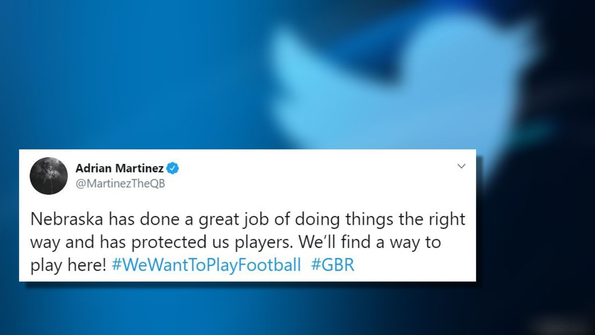 Husker QB Adrian Martinez tweets reaction to Big Ten Conference schedule released.