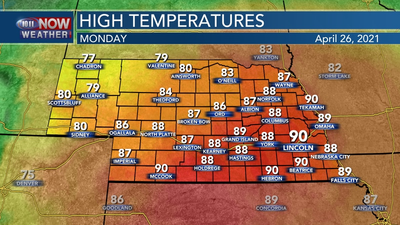 Temperatures will soar into the upper 80s to lower 90s on Monday for most of the coverage area.