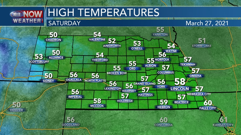 Seasonal temperatures in the 50s to near 60° are expected on Saturday.