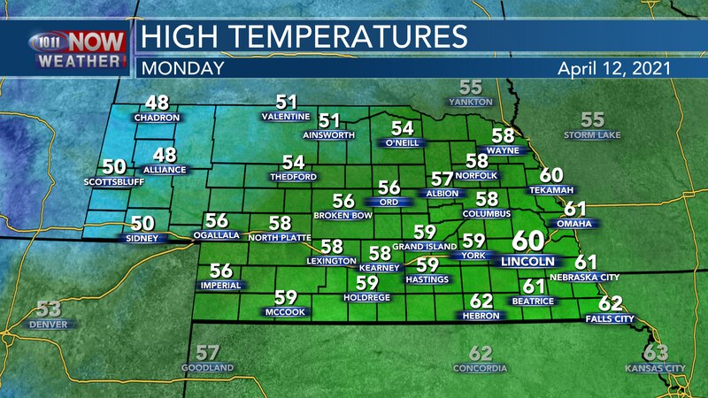 Cooler temperatures are expected for Monday with highs in the 50s to low 60s.