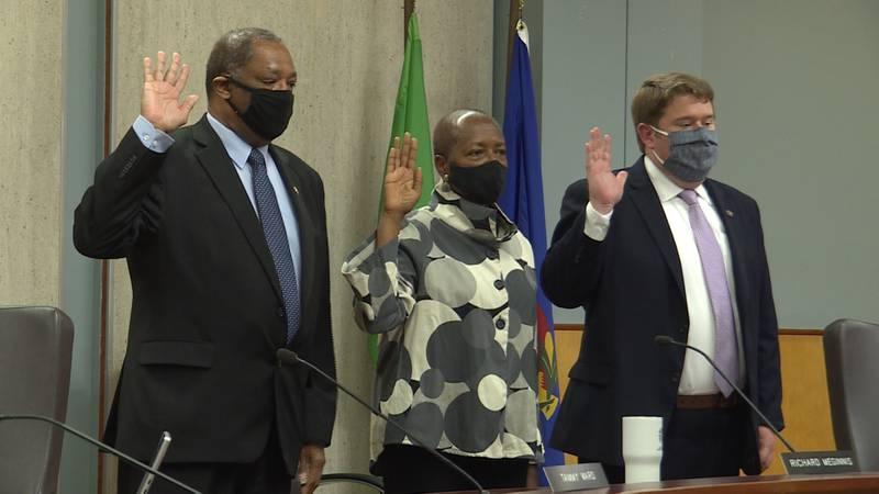 Bennie Shobe, Sandra Washington and Tom Beckius were sworn-in to the Lincoln city council Monday.