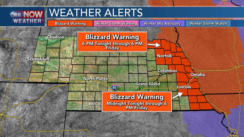 Blizzard Warnings are in place across eastern Nebraska for Thursday night into the day on...