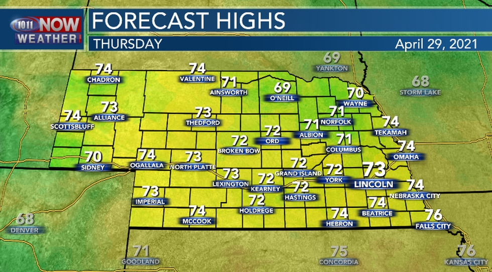 Mainly sunny, breezy and warmer Thursday afternoon.