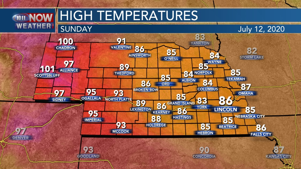 Highs should reach the mid 80s to lower 100s across the state on Sunday.