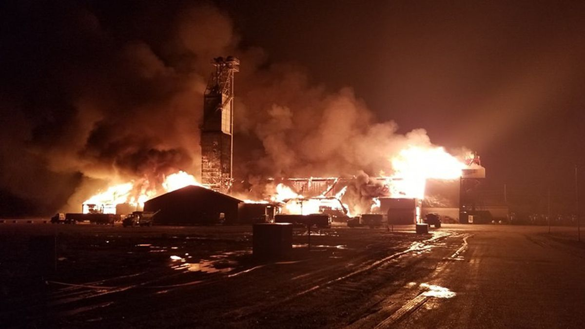 Hastings Fire & Rescue battles a large structure fire.