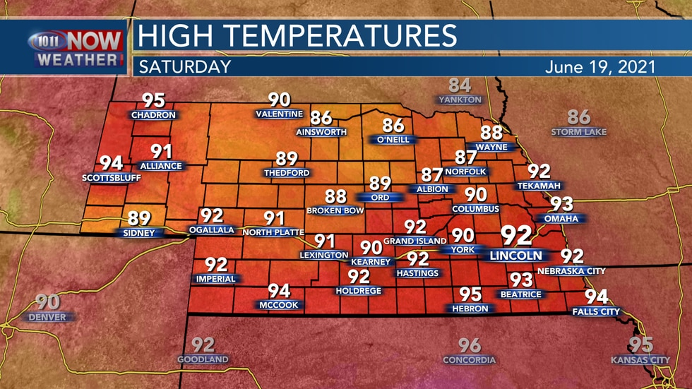 Temperatures on Saturday should reach the mid 80s to mid 90s across the state.