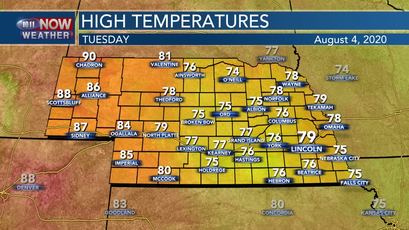 More pleasant weather is expected on Tuesday with highs in the mid 70s to upper 80s across the...