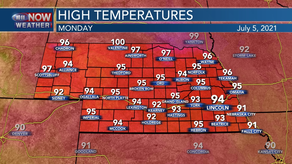 Temperatures by Monday afternoon will be in the low to mid 90s for most of the state, with some...