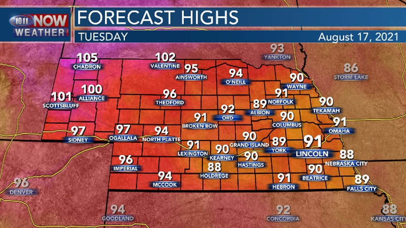 Very hot conditions continue in northwest Nebraska and the panhandle. Hot and humid for central...