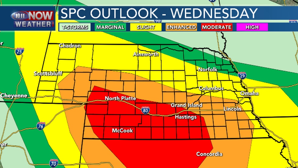 A Moderate risk for severe weather for parts of south central and southwestern Nebraska late...