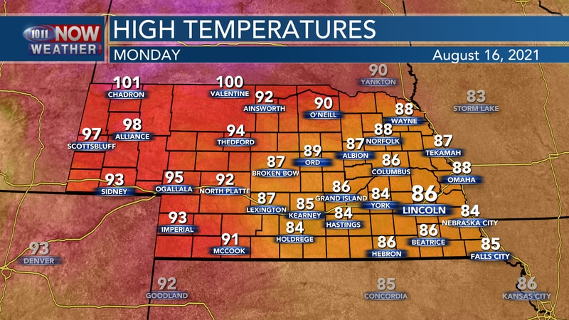Look for highs ranging from the mid 80s to the upper 90s on Monday.