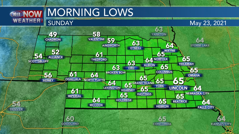 Temperatures remain mild by Sunday morning with lows in the low to mid 60s.